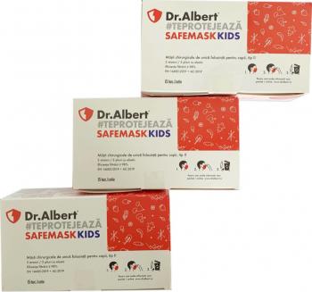 Set 3 cutii x 15 bucati Masti medicale pentru copii ambalate individual de unica folosinta nesterile 98 tip II Dr. Albert