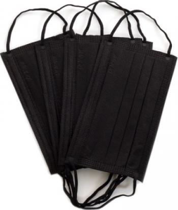 Set 50 bucati Masca chirurgicala medicala Dr Mayer 4 straturi 3 pliuri full color Black