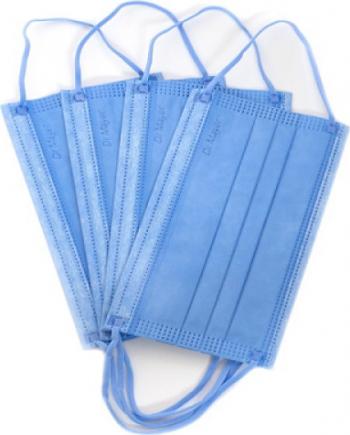 Set 50 bucati Masca chirurgicala medicala Dr Mayer 4 straturi 3 pliuri full color blue