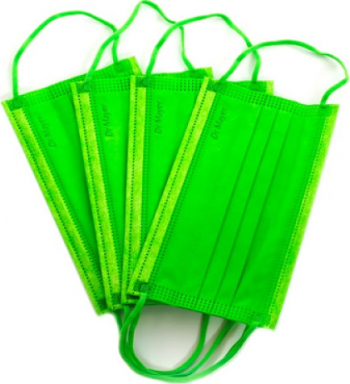 Set 50 bucati Masca chirurgicala medicala Dr Mayer 4 straturi 3 pliuri full color verde