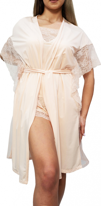 Halat dama model Angel lycra roz cu dantela