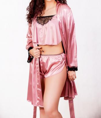 Halat dama model Ria satin roz cu dantela