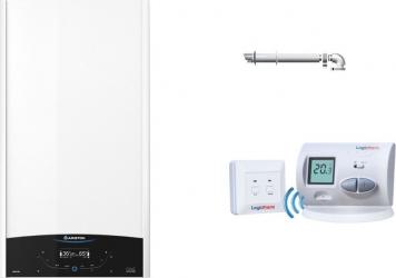 Pachet economic centrala termica in condensare Ariston CLAS ONE 24 kW kit de evacuare gaze arse si termostat wireless incluse