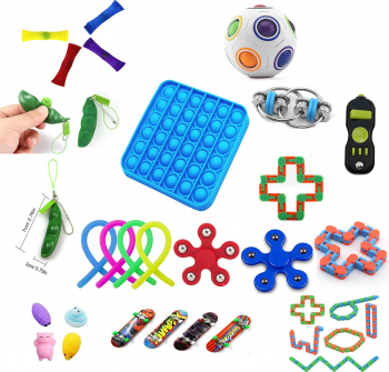 Set 26 jucarii senzoriale antistres pop it Fidget Toys multicolor