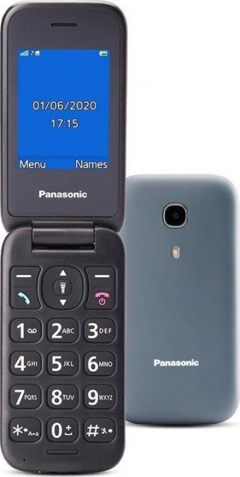 Telefon mobil Panasonic GSM KX-TU400EXG Single SIM Tehnologie 2 G memorie Ram 1 Gb Buton SOS Gri ideal pentru seniori
