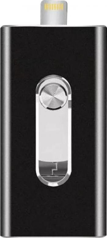 Stick USB memorie USB Flash Drive 128 GB pentru iPad iPhone Android si PC cu conector Lightning USB si Mini USB Negru TarTek