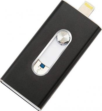 Stick USB memorie USB Flash Drive 32 GB pentru iPad iPhone Android si PC cu conector Lightning USB si Mini USB Negru TarTek