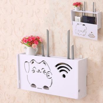 Raft suport Router Wireless TarTek din compozit vopsit alb pentru mascare fire si echipament WIFI 25 x 21 x 10 cm