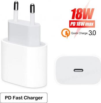 Incarcator compatibil Apple iPhone 11 iPhone 11 Pro 11 Pro Max alimentator retea fast charge USB-C 18 W alb fara cablu