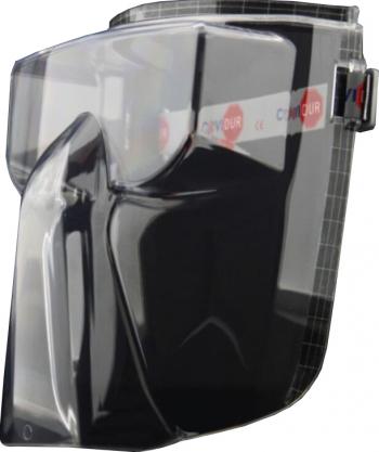 Masca sau Viziera transparenta compatibila pentru ochelari pentru protectia fetei COVIDUR Antifog 185x240 mm Negru