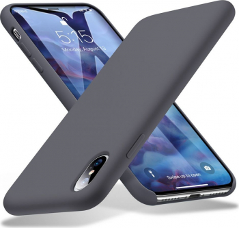 Husa Spate Premium Esr Yippee iPhone Xs Max Gri silicon Cu Interior Alcantara