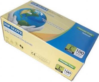 Set 100 Manusi Latex Top Glove marimea L Alb