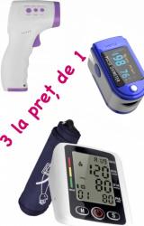 3 LA PRET DE 1 Tensiometru Electronic Pentru Brat Oximetru pentru deget cu display Termometru digital non contact cu infrarosu