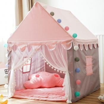 Cort pentru copii casuta pentru fetite roz cu lumini 145x90x124 cm