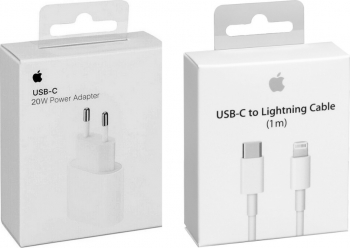 Incarcator Fast Charge Apple 20W iPhone 12 / 12 Pro / 12 Pro Max si Cablu de date Fast Charge USB-C-Lightning 1M in Retail Box