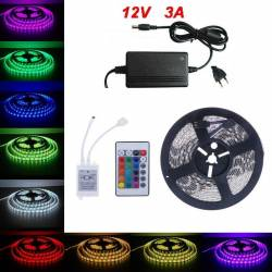 5Metri x Banda LED RGB Cu Telecomanda si Transformator Tip 5050 Waterproof Corpuri de iluminat