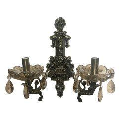 Aplica dc 8043/2 schelet bronz antic metal sticla si cristal 2e14 Corpuri de iluminat