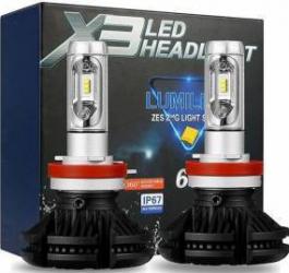 Becuri cu Led auto pentru faruri H7 super white X3 DC 9-32V - 6000 Lumeni IP67 chip ZES de la Philips 3000K6500k8000k