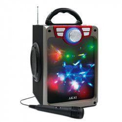 Boxa audio AKAI boombox activa portabila lumini disco USB bluetooth microfon cu fir inclus