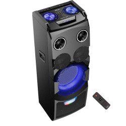Boxa portabila 320 W PMPO Microfon Inclus 2 mufe mic si 1 x jack de chitara Display LED RMS iesire 80 W 9000 mAH Negru