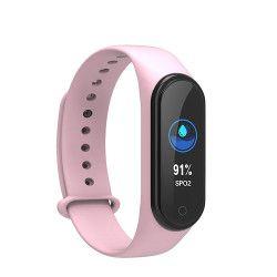 Bratara fitness inteligenta TKY-M4 Plus cu masurarea tensiunii arteriale Ritm cardiac Nivel oxigen Incarcare magnetica Roz Bratari Fitness