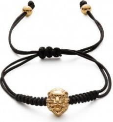 Bratara macrame ajustabila pentru barbati cu cap de leu auriu Bratari
