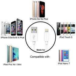 Cablu de Date  Alimentare Usb Lightning MFI 5678 Plus 10 Compatibil Apple Iphone Alb 2M Sosete