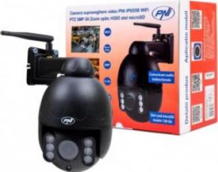 Camera supraveghere video PNI IP655B 5MP WiFi PTZ 5X Zoom optic H265 slotmicroSD Night Vision 50m IP66 Alarma detectie miscare Comunicare Camere de Supraveghere