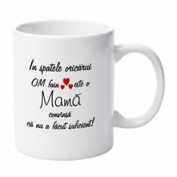Cana alba ceramica capacitate 300 ml model Mama om fain Cadouri