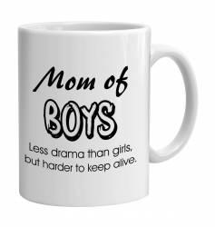 Cana alba ceramica capacitate 300 ml model Mom of boys Cadouri