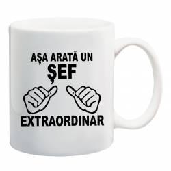 Cana personalizata ceramica 300 ml Asa Arata un Sef Extraordinar Cadouri