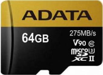 Card de memorie ADATA Premier One microSDXC 64GB Class 10 UHS-II 275MBs + Adaptor SD Carduri Memorie