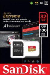 Card de Memorie 4K SanDisk Extreme microSDHC 32GB Clasa 10 A1 V30 UHS-I 100 MBs + Adaptor SD Mobile Carduri Memorie