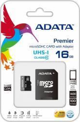 Card de Memorie ADATA Premier microSDHC UHS-I U1 16GB Class10+Ad Carduri Memorie