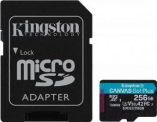 Card de memorie Kingston Canvas Go Plus MicroSDXC 256 GB UHS-I CL10 + Adaptor SD Carduri Memorie