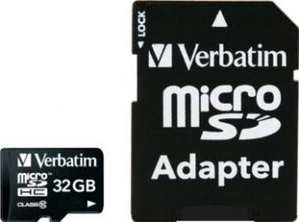 Card de Memorie Verbatim Micro SDHC 32GB Clasa 10 cu adaptor Carduri Memorie