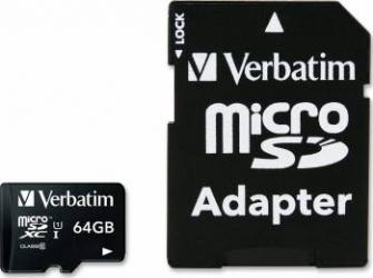 Card de Memorie Verbatim microSDXC 64GB Class 10 + Adaptor SD Carduri Memorie