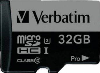 Card de Memorie Verbatim Pro 600X microSDHC 32GB Clasa 10 UHS-I U3 90MB/s + Adaptor Carduri Memorie