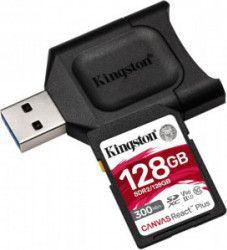 Card memorie Kingston SDXC UHS-II U3 Canvas React PLUS 128GB Clasa 10 + cititor USB Carduri Memorie