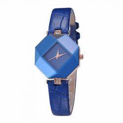 Ceas Geneva Dama Quartz Casual Elegant Albastru PN999855AU curea din piele afisaj Analog