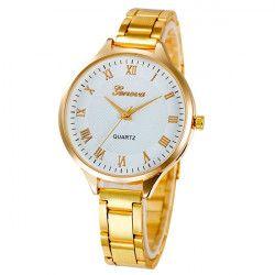 Ceas Geneva Dama Quartz Casual Elegant Gold-alb PN999966GAB curea din metal zale afisaj Analog