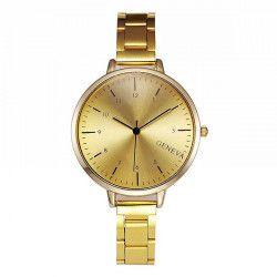 Ceas Geneva Dama Quartz Casual Elegant Gold PN999667GD curea din metal zale afisaj Analog