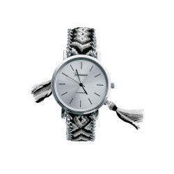 Ceas Geneva Dama Quartz Casual Elegant Silver-negru PN999610SNU curea din material textil afisaj Analog