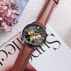 Ceas de dama Megir rezistent la apa 3Bar mecanism Quartz curea din piele maro afisaj analogic calendar Smartwatch