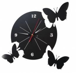 Ceas Perete Rotund Fluturasi negru + 3 Fluturasi Tablouri