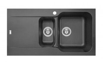 Chiuveta Pyramis Level ARTITHEK 960x500mm adancime 210mm cuve dreapta montare pe blat soft compozit negru