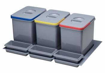 Cos de gunoi incorporabil in sertar cu 3 recipiente pentru corp de 800 mm latime