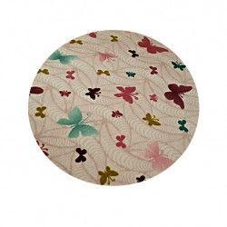 Covor Modern Fluture Crem Rotund 100 cm