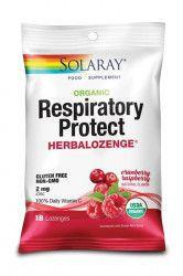 Dropsuri pentru Gat Respiratory Protect cu Gust de Merisoare si Zmeura 18dr.Solaray Secom