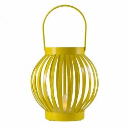 Felinar cu candela LED efect flacara 12x11 cm metal interior galben Corpuri de iluminat